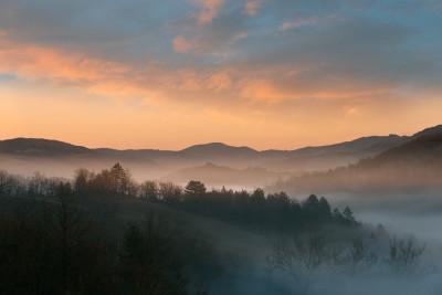 I boschi nei pressi di Fortunago nella luce di un tramonto invernale